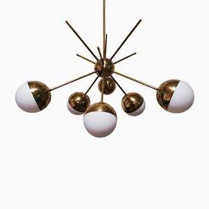 Vintage Messing 6-Leuchten Sputnik Deckenlampe