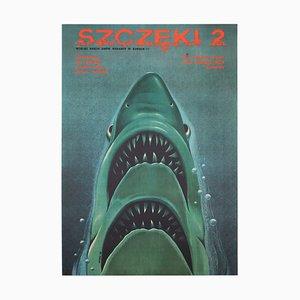 Póster polaco del movimiento de la película Jaws 2 de Edward Lutczyn, 1979
