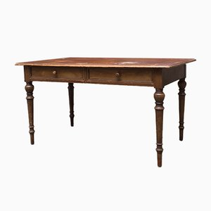 Antique Italian Walnut Rectangular Kitchen Table with Turned Legs, 1900s