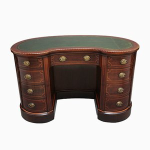19th Century Inlaid Mahogany Kidney-Shaped Desk, Set of 2