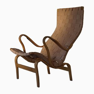 Swedish Modern Beech & Leather Model Pernilla Lounge Chair by Bruno Mathsson for Dux, 1969