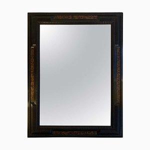 Vintage Flemish Style Faux Tortoiseshell and Ebonised Ripple Frame Mirror