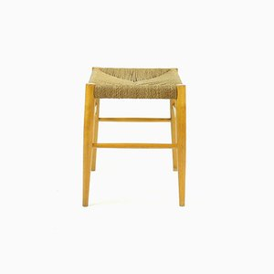 Mid-Century Stool in Oak Wood and Rope, Czechoslovakia, 1960s