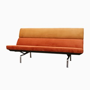 Mid-Century Orange Velvet Compact Sofa by Herman Miller