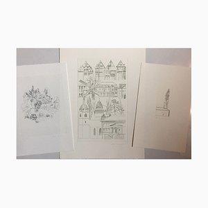Otto Rohse, Convolute 3 flores de trabajo, grabados y aguafuerte, juego de 3