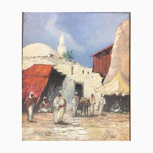 Abdulla Hassan, Scène orientale orientale avec sept arabes, huile sur toile
