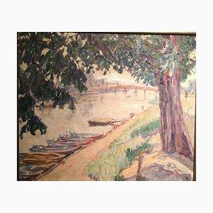 Gerhard Sy, Old Bridge Over the Fulda, 1930, óleo sobre lienzo