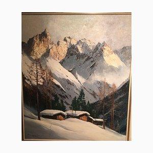 Arno Lemke, Mädelegabel Allgäu, 1950, huile sur toile