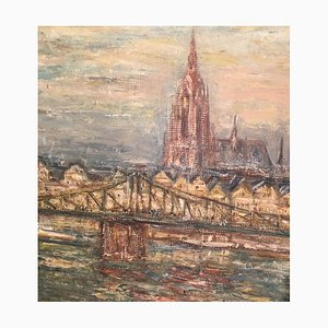 Gustav A. Meyer Spelbrin K, 1893-1975, El paso de hierro, Óleo sobre cartón