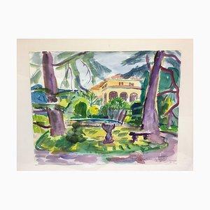Heymo Bach, Adenauer Villa Cadenabbia Lake, Watercolor