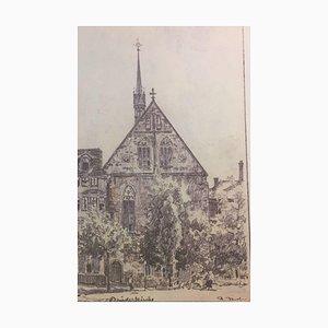 Rudolf Jacob, 1975, Brüderkirche Knackfuß Architectural Drawing, Etching