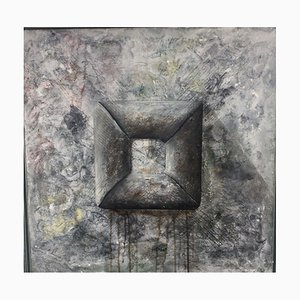 Arno Jung, 1948, Gray Shapes, Oil on Canvas