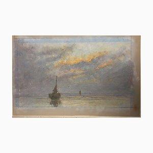 Niek Nirk V. Plas, Katwijk Fishing Boat, 1990, Pastel