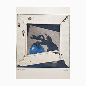 Ernst Mayer Wahrmut, Aguafuerte al aguatinta en colores, 1976, Loplop