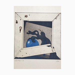 Ernst Mayer Wahrmut, Eau-forte Aquatinte en couleurs, 1976, Loplop