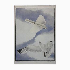 Norbert Komorowski, Möwe und Papierflugzeug, 1977, Lithographie
