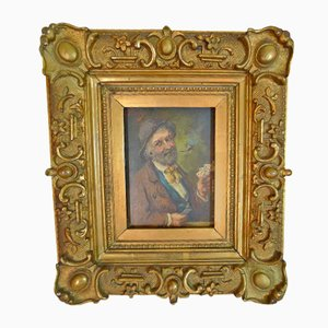 Franz Xaver Fuchs, 1868-1944, Le joueur chanceux, huile sur bois