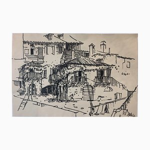 Heinz Fahle, 1925-2017, Italian Houses, India Ink