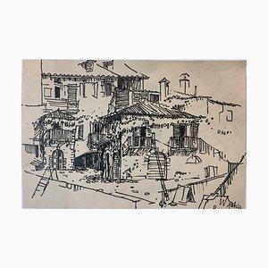 Heinz Fahle, 1925-2017, Italienische Häuser, Tusche