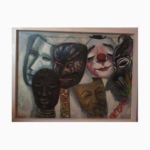 Bernhard Sydow, 1912-1993, Ziegenhain Masks, Oil Painting