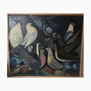 Bernhard Sydow 1912-1993, Pigeons the White Dove, Huile sur Toile