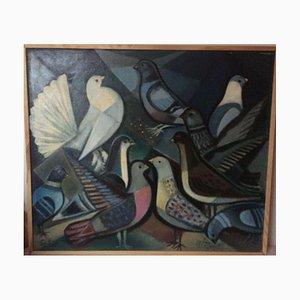 Bernhard Sydow 1912-1993, Tauben die Weiße Taube, Öl auf Leinwand