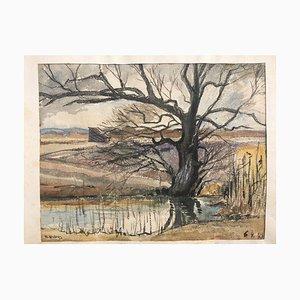 R. Endres, 1942, Weide im Dachauer Moos, Aquarell
