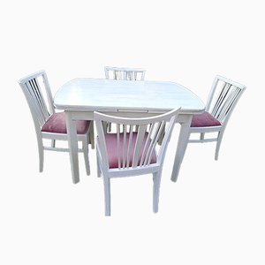 Solid Wood Table with Chairs, Set of 6