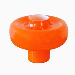 Mid Century Opaline Glass Table Lamp in Orange