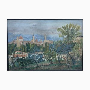 Firenze, 1930, Florence Gardens, Öl auf Hartfaserplatte