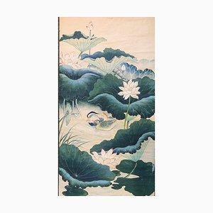 Anatre allo stagno di Waterlily, Ink Ink Guouache