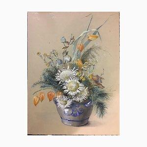 Blue Gray Pot, Gouache