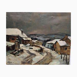 Charles Verhasselt. Wintertime in Belgium, 1964, Oil on Canvas
