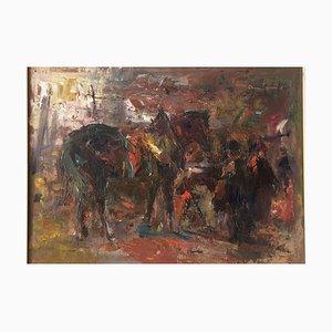 Otmar Antonio Janecek, In the Stables, 1996, Öl auf Schichtholz