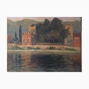 Alfredo Müller, 1869-1940, Schloss auf Wasser, Öl auf Karton
