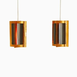 Dänische Lampen aus Kupfer, 2er Set