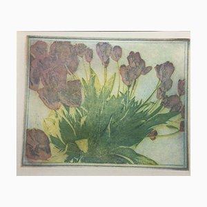 Blumen in Lila und Grün, Linolschnitt