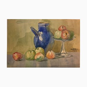 Heinrich Breul, Apples Still Life, 1917, Watercolor