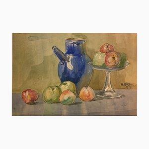 Heinrich Breul, Stillleben mit Äpfeln, 1917, Aquarell