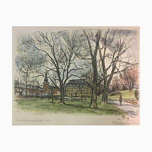 Reinhold Gelbert, 1912, Schlosspark, Aquarell Lithographie