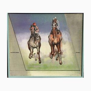 Werner Kausch, Derby 2, Rennpferde, 1924-1993, Öl auf Leinwand