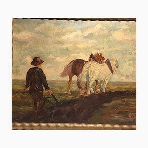 Tiller und Pferde, Öl auf Karton