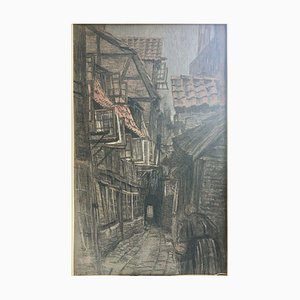 Paul Helms, Old Hamburg, 1884-1961, Pastel