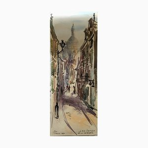 Sacre Coeur Paris La Rue S'Rustique, acquerello