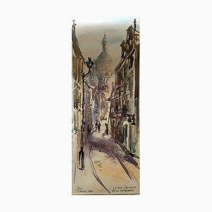 Sacre Coeur Paris La Rue S'Rustique, Aquarell