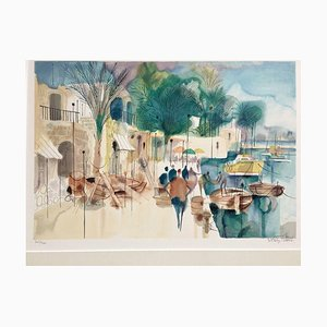 Beach Promenade, Color Lithograph