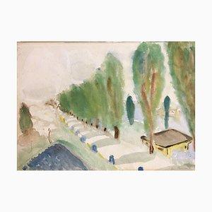 Maria Proell, Lake Landscape, Watercolor