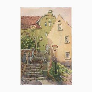 Bernburg Stairs, Karl Arnold, 1942, Watercolor