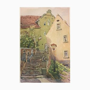 Escalier Bernburg, Karl Arnold, 1942, Aquarelle