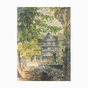 Bad Sooden Soden-Allendorf Marketplace Fountain, 1945, Watercolor